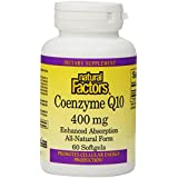 Natural Factors Coenzyme Q10 (100% Naturel) 400mg, 60 gélules souples - Santé Cardiovasculaire (100% Natural CoQ10...