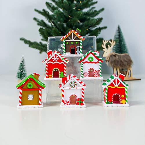 vijTIAN - Mini Decorazione Natalizia Colorata a Forma di Cottage Creativo, Decorazione per Feste, per Una Forte Atmosfera Natalizia per la Tua Famiglia E