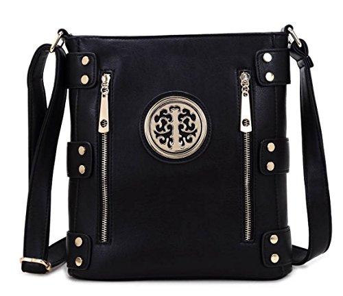 Damen Mode lang Promi Zipper Detaillierte Messenger Tasche Hot Selling Umhängetaschen Taschen CWJM252 CWJM612 CWRM150961 Handgepäck Schwarz
