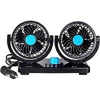 Sminiker - Ventilador doble para coche, 12 V, rotación ajustable de 360 grados - Potente, silencioso, 2 velocidades, rotatorio, para salpicadero de coche, ventilador para la circulación de aire fresco en verano