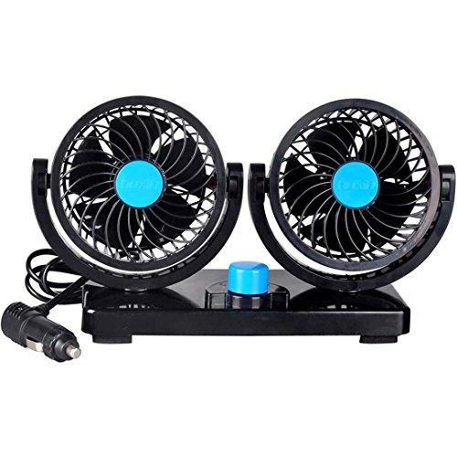 Sminiker 12V coche ventilador 360Degree rotación ajustable Dual Fan- potente cabeza coche...