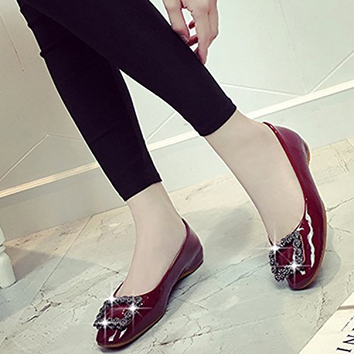 Oasap Women's Square Toe Rhinestone Height Increasing Flat Heels Shoes Burgundy