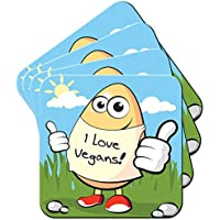 Egg Wearing I Love Vegans Coaster / Pack of Coasters