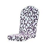 Couverture Housse de Chaise de Salle à Manger Demi-cercle Elastique Décoration de Mariage - Blanc Violet
