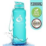 Grsta Sport Trinkflasche 42oz-1200ml - Wasserflasche Auslaufsicher, Eco Friendly BPA Frei Tritan Kunststoff Flaschen mit Frucht Filter, Sporttrinkflasche für Kinder, Gym, Yoga, Laufen, Camping, Büro (Hellblau) …