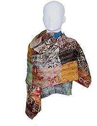 Indistar Vintage Silk Hand Quilted Kantha Hand Work Dupattas Reversible Scarves Scarf Patchwork Multicolor(80200... - B0767JZZS2
