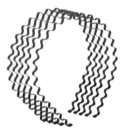 Mujer-Ropa-Black-Metal-Primavera-Rizada-Cabello-Hoop-Diadema-5-Piezas