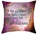 Bag hat A Wise Girl Knows Her Limits a Smart Girl Knows That She Has None Cotton Linen Throw Pillow Covers Case Cushion Cover Sofa Decorative Square 18 inch X 18 inch