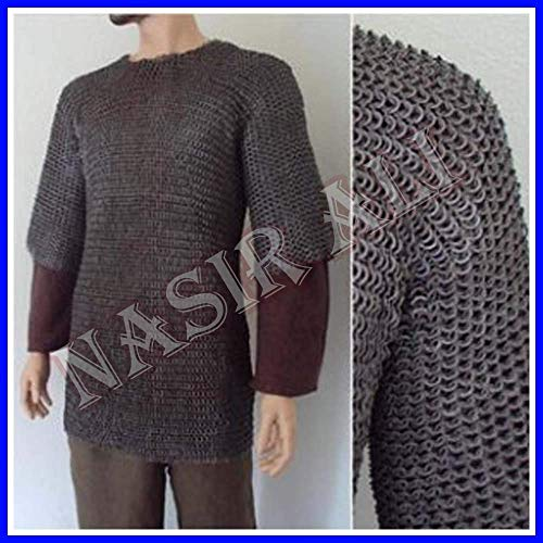 NASIR ALI Brand Large Size Flat Riveted with Flat Washer Chainmail Shirt Chain Mail Haubergeon