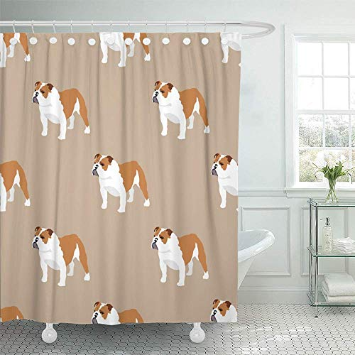"WENEOO LA Shower Curtain Set Waterproof Adjustable Polyester Fabric Brown Adorable English Bulldog Colorful Animal Breed British Character Close 60"" W x72 L inches Set with Hooks for Bathroom"