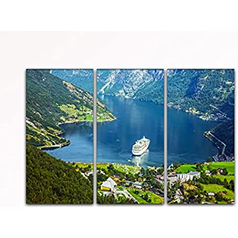 DEINEBILDER24, de - quadro 3 pezzi a forma di croce nave Geiranger Fjord in viaggio, Norvegia su tela e telaio. Alta qualità, prodotto a mano in Germania!, blau gelb weiß grün rot orange braun schwarz rosa, 40 x