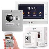 Goliath IP Türsprechanlage mit Kamera, Unterputz HD Türstation, Edelstahl, App mit Türöffner Funktion, 7 Zoll Touchscreen, Video-Speicher, 1 Familienhaus Set, AV-VTC06
