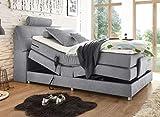 Froschkönig24 Palermo 120x200 cm Boxspringbett Bett mit Motor Hellgrau, Ausführung:Variante 3