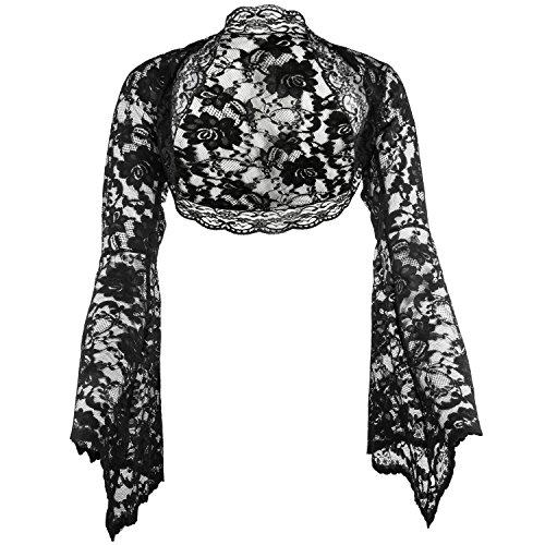 Langarm Bolero aus feiner Spitze, Ärmel glockenförmig, Schwarz Gr 46 (Hexe Kleid Böse)