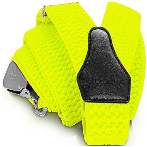 Decalen Hosenträger für Herren breit extra starken 4 cm mit 3er Clips Y Form Lang für Männer und Damen Eine Größe Passt Alle Verschiedenen Farben (Gelb Neon)