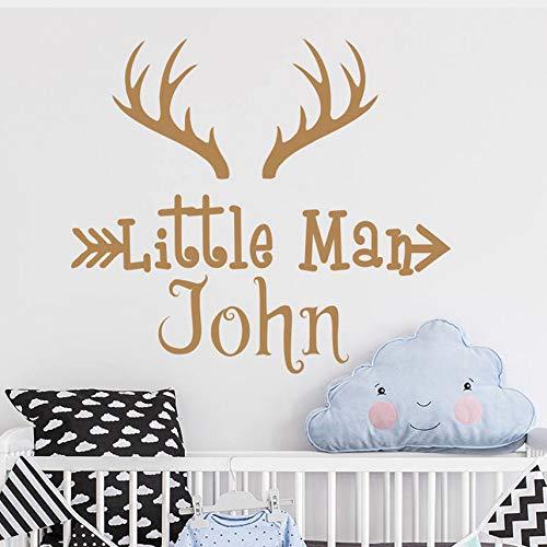 Zybnb Personalisierte Deer Horns Name Wand Aufkleber Deer Antler Wand Vinyl Aufkleber Für Kinder Zimmer Jagd Unter Dem Motto Woodland Kinderzimmer Dekor 57 X 64 Cm
