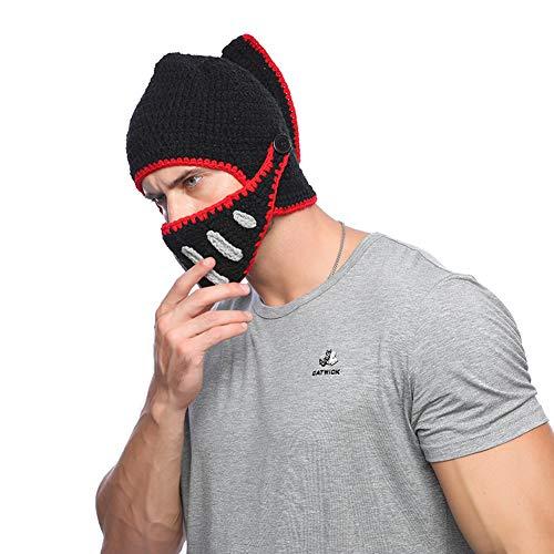 Yvonnelee Damen Herren Römischer Krieger Helm Mütze mit Bart Lustige Bartmütze Maske für Karneval Halloween Cosplay Party 038