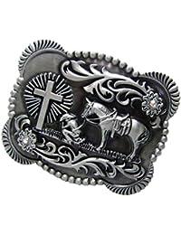 MagiDeal Hebilla de Cinturón Patrón Caballo Retro para Hombre - Rectangular 11 x 8.2 cm