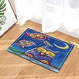 Peinture à l'huile décor hibou et son bébé Paly sous Moon tapis de bain pour...