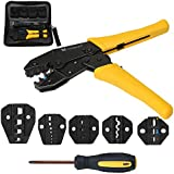 Voilamart Heavy Duty 0.5-35mm² Crimper Ratcheting Tool Kit Professional Comfort Grip for Insulated and Non-insulated Wire Terminals Connectorswith Carry Case, Screwdriver and 4 Spare Dies