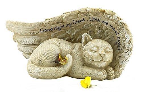 Elaan31 schlafende Katze mit Engel Flügel Garten Statue Memorial Pet