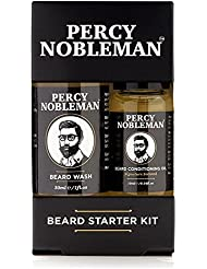Kit entretien de barbe par Percy Nobleman - Coffret huile et shampoing nettoyant pour barbe composés à 99 % d'ingrédients dérivés de la nature