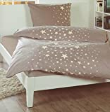 Feinbiber-Bettwäsche Garnitur Markenreißverschluss Oeko-Tex (155 x 220 cm, beige/braun mit Sternen...