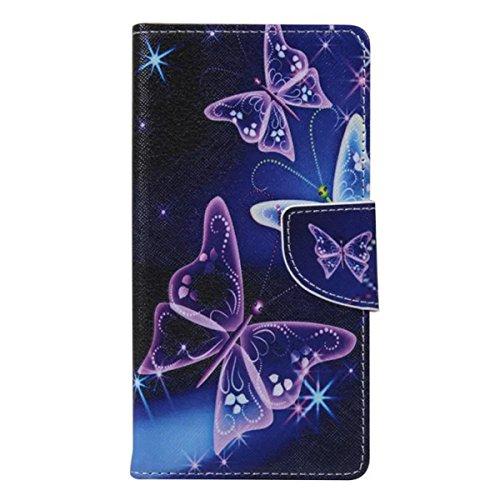 Etche Schutzhülle für iPhone 6S/6 4.7 Zoll Ledertasche,iPhone 6S/6 4.7 Zoll HandyHülle bunt Muster,iPhone 6S/6 4.7 Zoll wallet Schutzhülle, niedlich bunt kreativ hübsch Blumen Flip Cover PU Leder Case lila Schmetterling