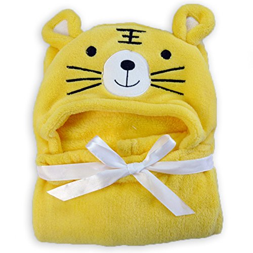 th Towel Coral Fleece Animal Hooded Bathing Handschuh Homewear für 0-24Months Kids Toddler Baby Boys Girls Best Gift(95 * 75cm,Yellow Tiger) ()