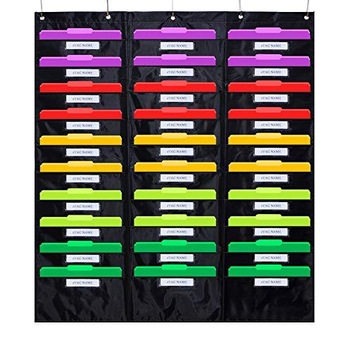 Center Pocket Chart, 30 hängende Datei Ordner Pocket Chart Cascading Organizer & 5 Kleiderbügel Haken, ideal für Klassenzimmer, Schule, Büro oder Heimgebrauch ()