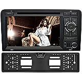 YINUO 7 Zoll 2 Din Touchscreen In Dash Autoradio Moniceiver DVD Player GPS Navigation mit kapazitivem Bildschirm 1080P OEM Stecker Canbus für Audi A3 (2003-2013), + Rückseiten -Kamera ¡