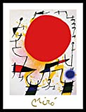 Joan Miro Poster Kunstdruck Bild Le soleil rouge mit Alu Rahmen in schwarz 56x46cm - Kostenloser Versand