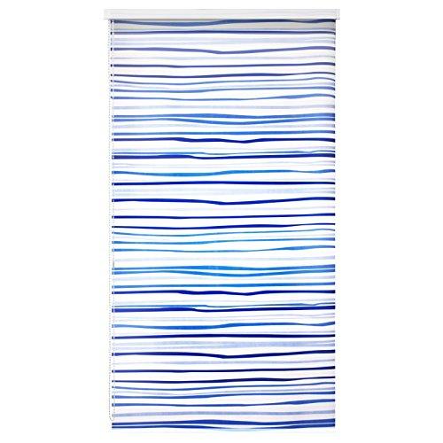 Design Duschrollo Blaue Streifen | viele Größen | Deckenbefestigung mit Halbkassette