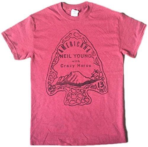 Americana T-shirt Aus Baumwolle (NEIL YOUNG - AMERICANA - OFFIZIELLES HERREN T-SHIRT - Rot, Medium)