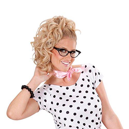 NET TOYS Rockabilly Brille 50er Jahre Gläser schwarz Strass Diva Partybrille Rock`n`Roll Katzenaugen Spaßbrille 60er Jahre Retro Kultbrille Cat Eye Retro-Brille (Cat Eye Brillen Der 50er Jahre Kostüm)