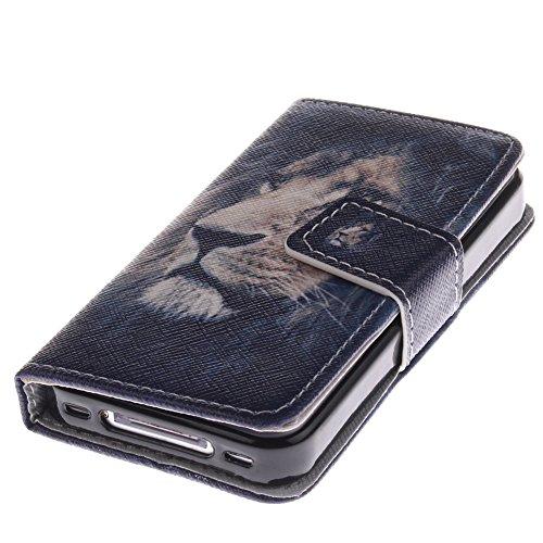 MCHSHOP(TM) verschiedene Muster Book-Style Handgemachtes Schutzhülle PU Leder Tasche Flip Wallet Ledertasche Hülle für Apple iPhone 4 4S Kartenfächern & Standfunktion - 1 Touch pen Frei (weiße tiger m der könig der löwen (The Lion King)