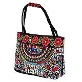 perfk Böhmische Handtasche Blume Stickerei Damentasche Geschenk für Ihre Mutter Freundin - Farbe...