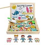 Yoptote Magnetisches Holzpuzzles | Lernspielzeug | Magnetic Angeln Spiel | Verkleiden Holz | Geschenk für Mädchen | Magnet Kinderspielzeug | Doppelseitige Hölzerne Magnettafel für Kinder 3 4 5 Jahre