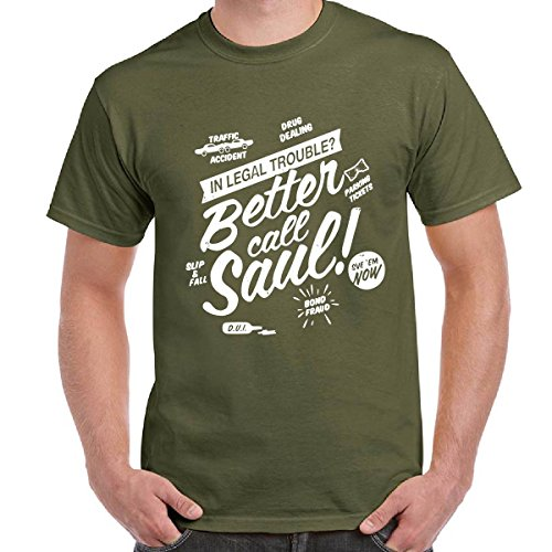 Maglietta Scura Uomo T-Shirt Serie TV Breaking Bad Better Call Saul Goodman, Colore: Militare, Taglia: S