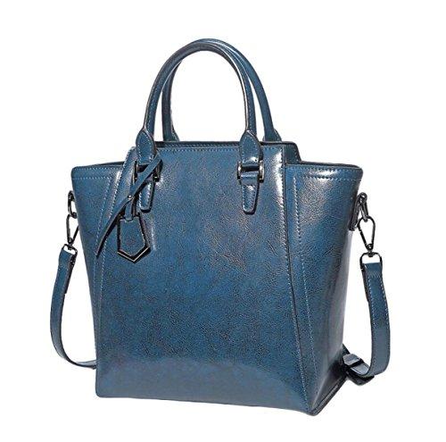 Leder Handtaschen Umhängetasche Damen Handtasche Messenger Bag Europa Und Die Vereinigten Staaten Stil,Blue-OneSize - Europa-messenger Bag