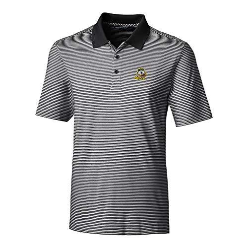 Cutter & Buck NCAA Herren Poloshirt, kurzärmlig, gestreift, gestreift, Herren, Short Sleeve Tonal Stripe Forge Polo, schwarz, Small (Hemd Herren Tonal Gestreiften)