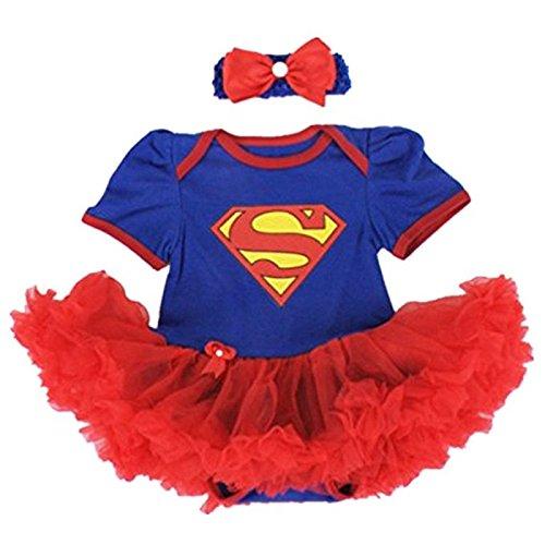 Supergirl Set Body und Haarband, Kostüm Baby 6bis 24Monate 6/9Monate, 12Monate, 18Monate, 2/3Jahre (Kostüm Supergirl Set)