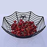 TAOtTAO Fruit Basket Spinnennetz Früchte Süßigkeiten Kunststoff Korb Spiderweb Halloween Party Decor Küche (Schwarz)