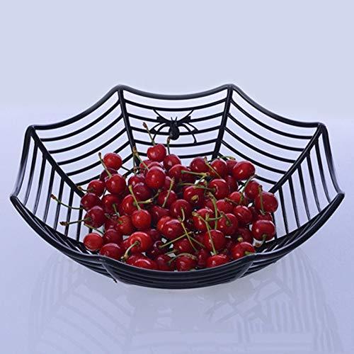 TAOtTAO Fruit Basket Spinnennetz Früchte Süßigkeiten Kunststoff Korb Spiderweb Halloween Party Decor Küche (Schwarz) -
