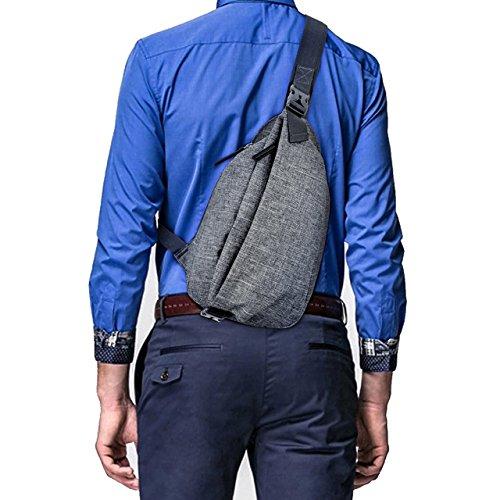 FALETO Crossbody Rucksack für Herren, Nylon, Diebstahlschutz, klein, Brusttasche, Schultertasche für Business und Reisen, Organizer Rucksack dunkelgrau Small