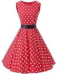 VKStar® 50er 60er Retro Kleider Damen mit Tupfen Abendkleid Vintage Damen  Rockabilly Ballkleid b827b81c23