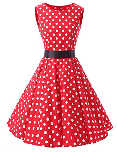 """VKStar® - Vestido retro para mujer, estilo años 50 y 60, tipo """"rockabilly"""" y con lunares, para salir de noche o ir a una fiesta rojo XXL"""