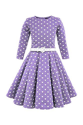BlackButterfly Kinder 'Chloe' Vintage Herzen Kleid im 50er-Jahre-Stil (Lila, 11-12 J / 146-152)