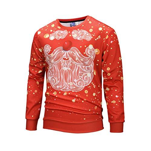 (Legogo Herren Weihnachtsentwürfe Runder Kragen Verdicken Freizeit und Mode Herren und Damen Sweatershirt(XL,Blumen))