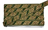 #4: Thread Embroidery and Kundan Work Lace Border Trim for Saree Lehenga Blouse and Dupatta (Pack of 9 Meters) (Dark Green)